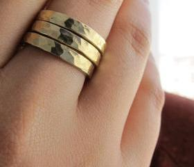 Golden Bands- Bronze hammered stacking rings